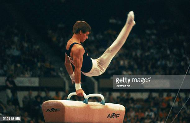 American gymnast Kurt Thomas performs on the pommel horse 12/7 as he brought the USA its first medal in modern World Gymnastics Championship history...