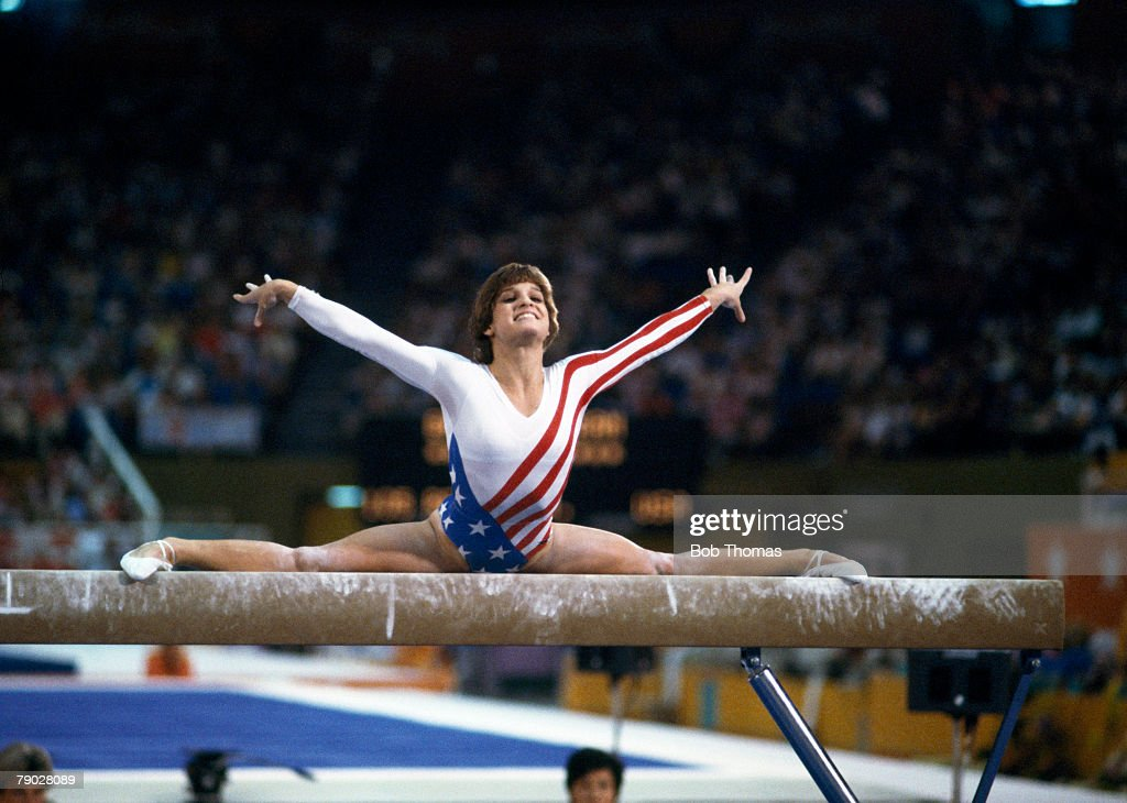 American gymnast Mary Lou Retton competes on the balance beam during competition in the Women's artistic individual all-around event at the 1984 Summer Olympics inside the Pauley Pavilion in Los Angeles, United States in July 1984. Mary Lou Retton would go on to win the gold medal in the final round of this event on 3rd August.