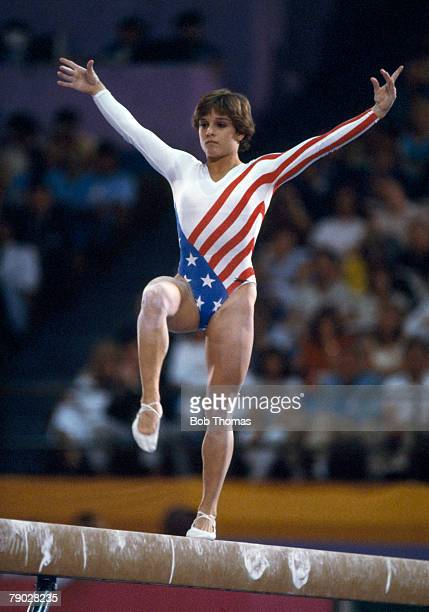 American gymnast Mary Lou Retton competes on the balance beam during competition in the Women's artistic individual allaround event at the 1984...