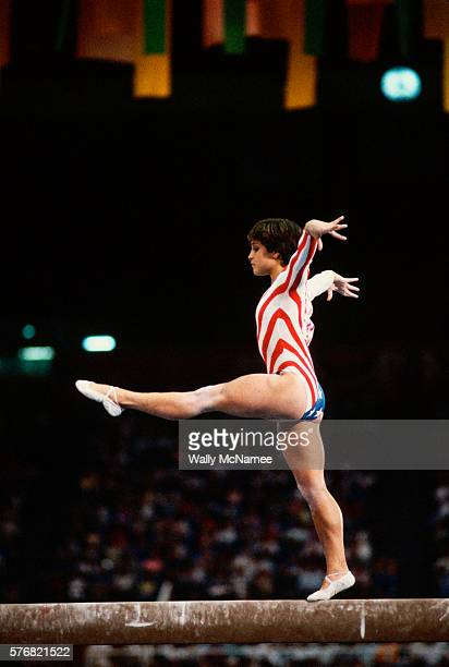 American gymnast Mary Lou Retton performs on the balance beam during the finals of the women's gymnastic team event at the 1984 Los Angeles Summer...