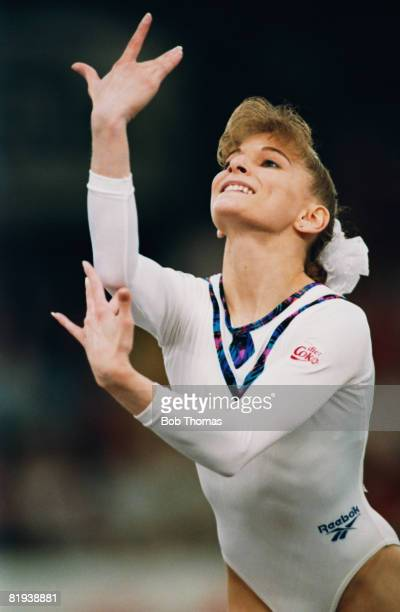 American gymnast Shannon Miller competes in the World Artistic Gymnastics Championships at the National Exhibition Centre in Birmingham England in...