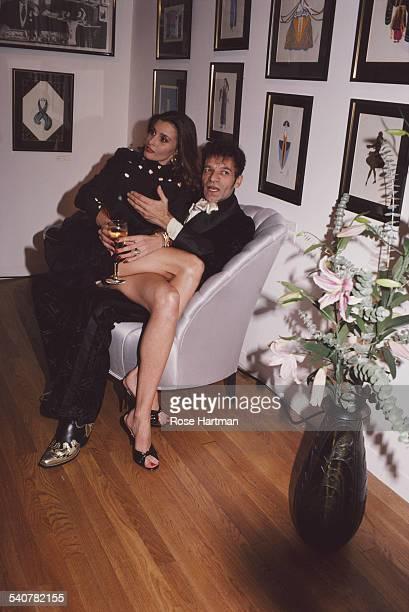 American hairstylist Ara Gallant with fashion model Apollonia van Ravenstein circa 1988
