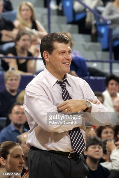 American Hall of Fame basketball coach Geno Auriemma reacts to a call while coaching the University of Connecticut women's basketball team during a...