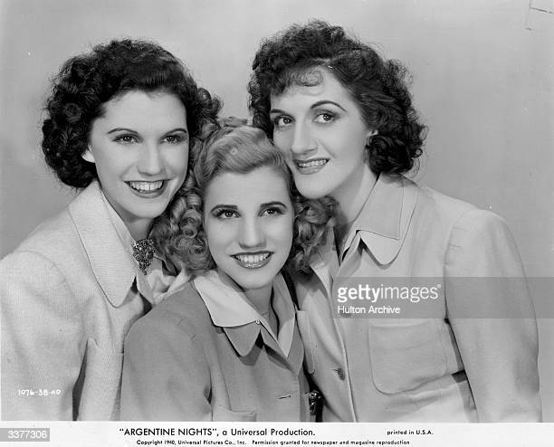 American harmony singing siblings the Andrews Sisters Patty Maxene and Laverne make their screen debut in the Ritz Brothers film 'Argentine Nights'...