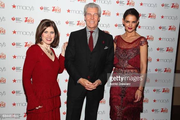 American Heart Association CEO Nancy Brown Macy's Inc Chairman and CEO Terry J Lundgren and actress Katie Holmes attend the American Heart...