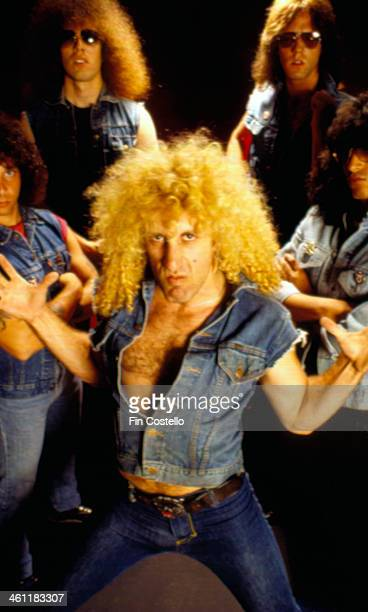 American heavy metal band Twisted Sister with singer Dee Snider in a posed group portrait 1982