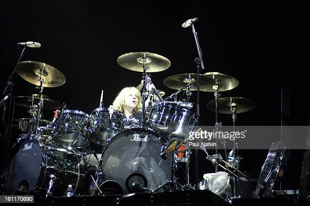 American heavy metal drummer Eric Singer performs with Alice Cooper at the Sears Centre in Hoffman Estates Illinois September 22 2007