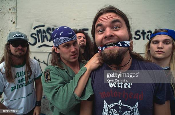 American heavy metal group Corrosion Of Conformity circa 1989 Reed Mullin on far right