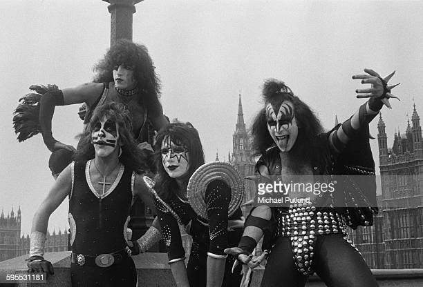 American heavy metal group Kiss posing on Westminster Bridge opposite the Houses of parliament London 10th May 1976 The band are in London for their...