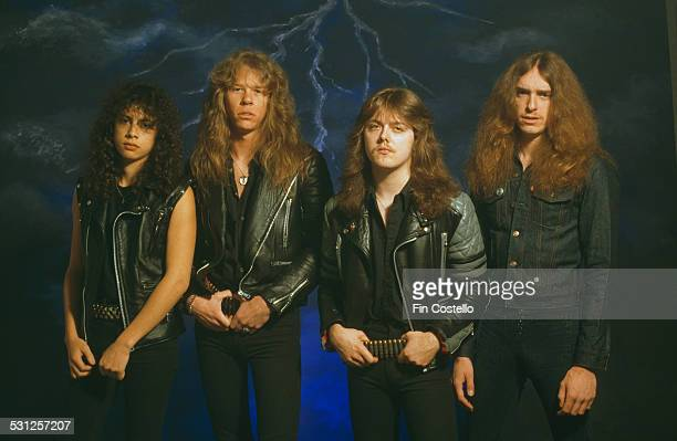 American heavy metal group Metallica UK 1985 Left to right lead guitarist Kirk Hammett singer and guitarist James Hetfield drummer Lars Ulrich and...
