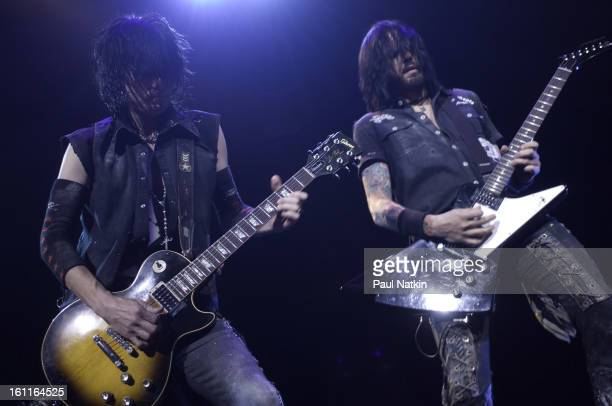 American heavy metal guitarists Keri Kelli and Jason Hook perform with Alice Cooper at the Sears Centre in Hoffman Estates, Illinois, September 22,...