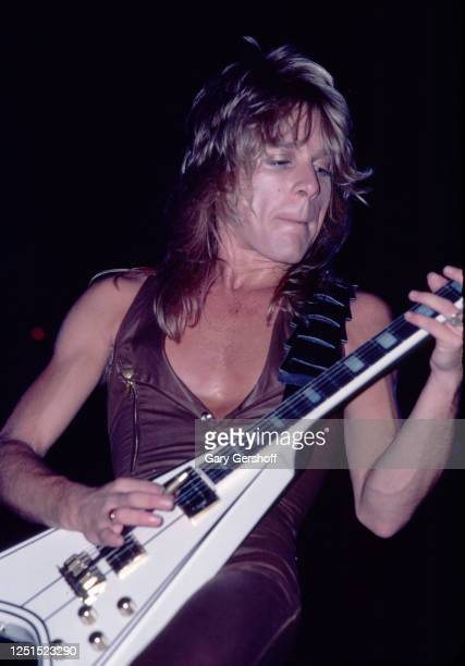 American Heavy Metal musician Randy Rhoads plays guitar as he performs, during the 'Blizzard of Ozz Tour,' at Nassau Coliseum, Uniondale, New York,...