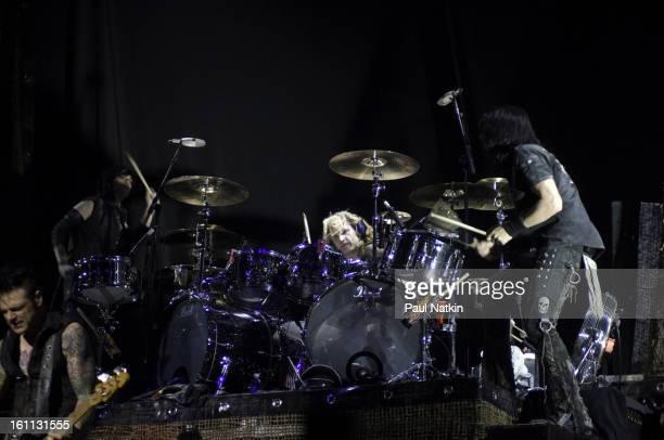 American heavy metal musicians from left bassist Chuck Garric guitarist Keri Kelli drummer Eric Singer guitarist Jason Hook perform with Alice Cooper...