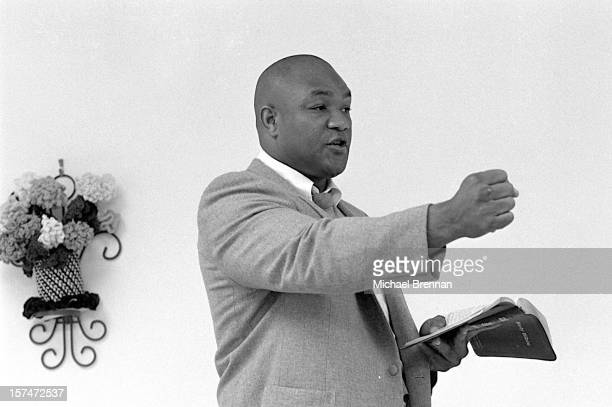 American heavyweight boxer George Foreman preaching to his congregation at The Church Of The Lord Jesus Christ on Lone Oak Road in Houston Texas...