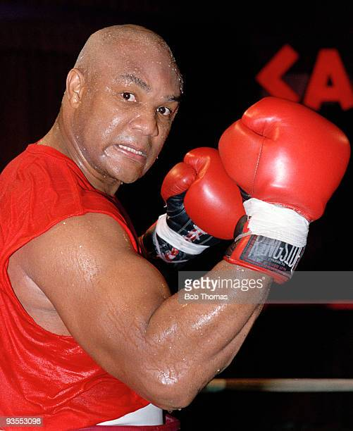 American heavyweight boxer George Foreman preparing for his forthcoming fight against Gerry Cooney in Atlantic City 12th January 1990