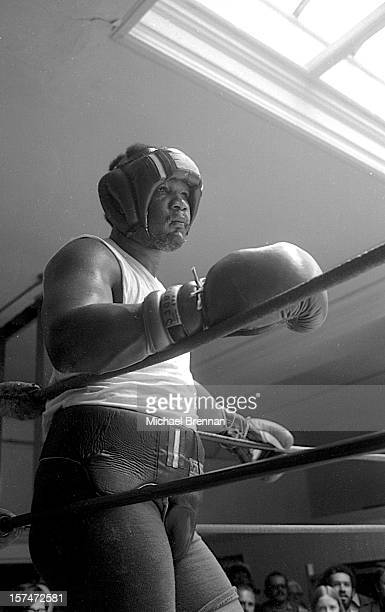 American heavyweight boxer George Foreman trains for his upcoming world title fight against Evander Holyfield St Lucia 5th March 1991