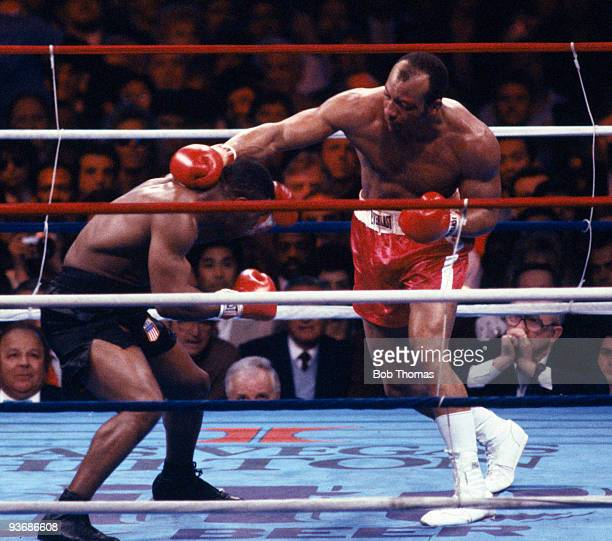 American heavyweight boxer James Bonecrusher Smith who was beaten on points by Mike Tyson in their WBC/WBA World Heavyweight Championship fight at...