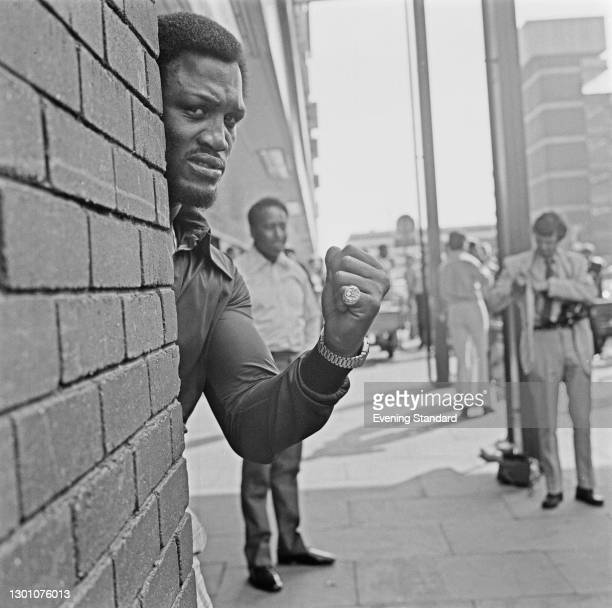 American heavyweight boxer Joe Frazier in London for his fight with Joe Bugner at Earl's Court on the 2nd of July, UK, 18th June 1973.