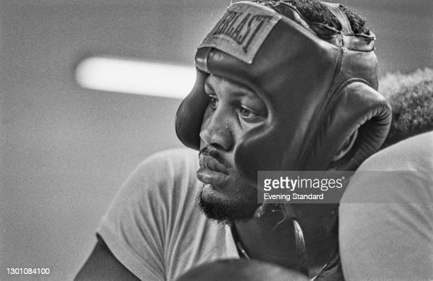 American heavyweight boxer Joe Frazier training in London for his fight with Joe Bugner at Earl's Court on the 2nd of July, UK, 19th June 1973.