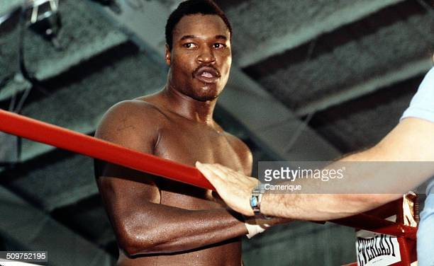 American heavyweight boxer Larry Holmes stands in the ring during training Las Vegas Nevada September 1982