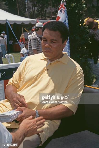 American heavyweight boxer Muhammad Ali attends the Nancy Davis Annual Race to Erase MS at UCLA Drake Stadium in Beverly Hills, California, June 1996.