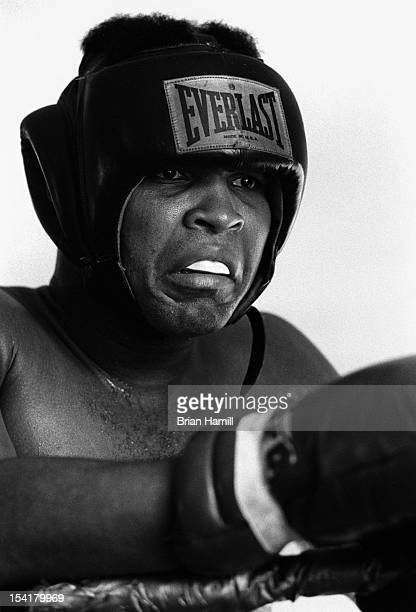 American heavyweight boxer Muhammad Ali in protective headgear during training at the 5th Street Gym Miami Florida 1971 Ali was in training for an...