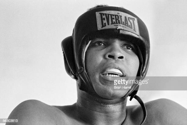 American heavyweight boxer Muhammad Ali in the ring during a sparring match before his fight with Joe Frazier Miami Florida 1971