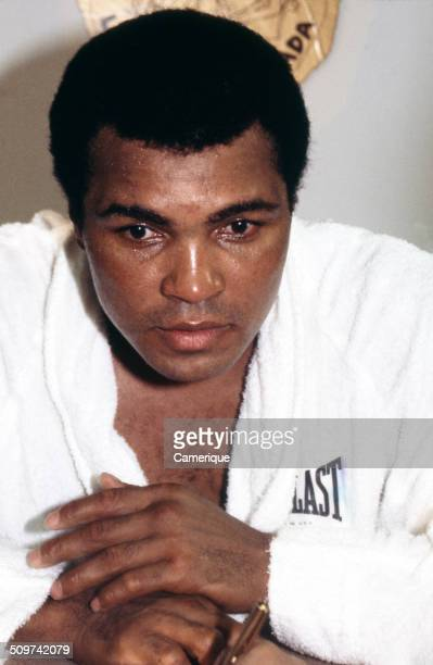 American heavyweight boxer Muhammad Ali talks to reporters during a break in training Las Vegas Nevada September 1982