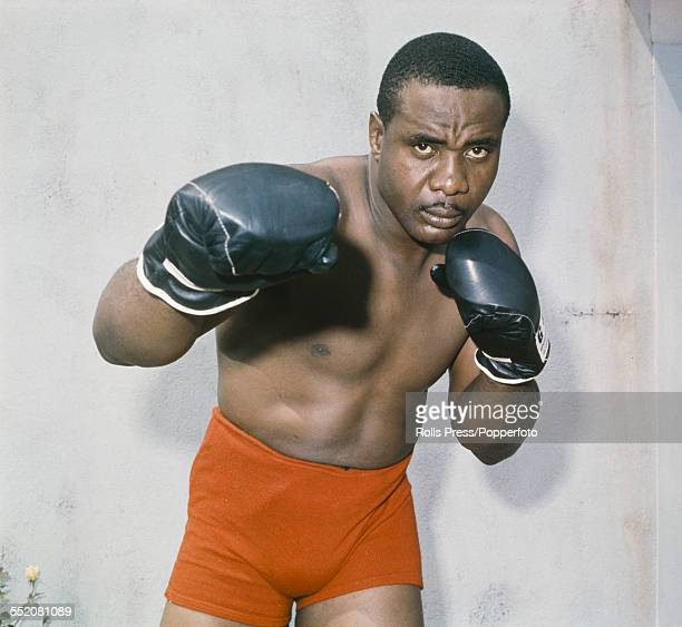 American heavyweight boxer Sonny Liston pictured in sparring pose circa 1965