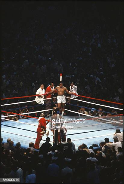 American heavyweight boxers Muhammad Ali and Leon Spinks in the ring during a championship bout New Orleans Louisiana September 1978 Ali went on to...