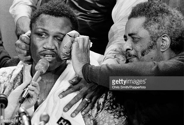 American heavyweight boxing champion Joe Frazier speaks to the press after his win against Muhammad Ali at Madison Square Garden 8th March 1971...