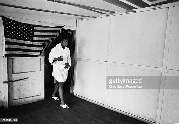 American heavyweight boxing champion Muhammad Ali in training in Miami Beach for his upcoming title fight against Joe Frazier February 1971