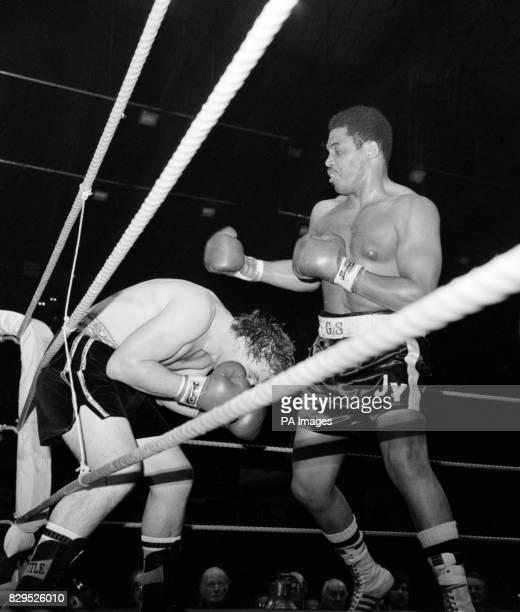 American heavyweight Jimmy Young in action at Wembley when he scored a points win over British heavyweight champion John L Gardner Young a...
