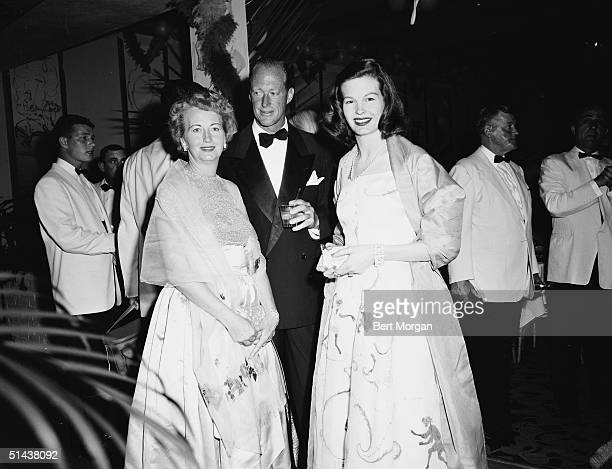 American heir Atwater Kent, Jr. Poses with Mrs. Ora Steele and her daughter, actress Marjorie Steele at the Polo Ball, Boca Raton, Florida, late...