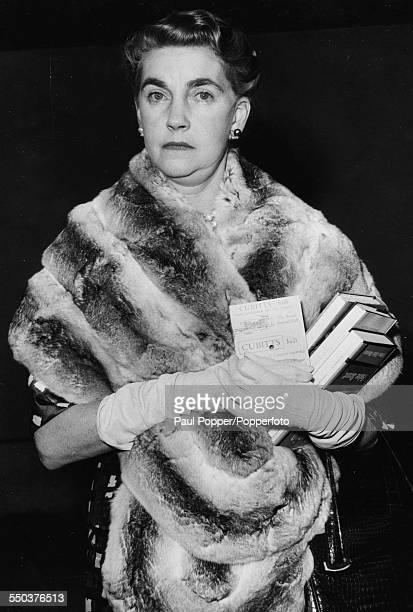 American heiress to the Woolworth estate Barbara Hutton pictured wearing a fur shawl at London Airport before leaving for Paris on June 24th 1960