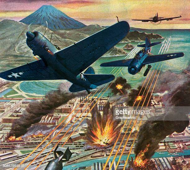 American Helldiver planes bomb Tokyo during World War II with Mt Fuji in the background 1945 Screen print