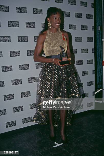 American heptathlete Jackie Joyner-Kersee attend the 2nd Annual Jim Thorpe Sports Awards, held at the Wiltern Theater in Los Angeles, California,...