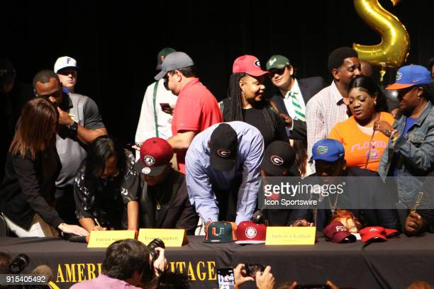 LAUDERDALE FL FEBRUARY American Heritage cornerback Patrick Surtain Jr and cornerback Tyson Campbell sign their letters of intent to play for the...