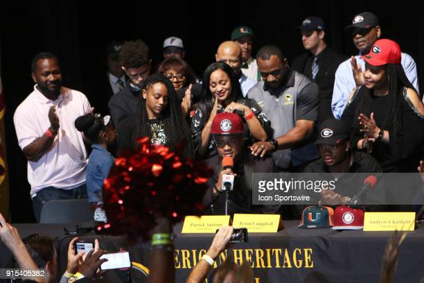 LAUDERDALE FL FEBRUARY American Heritage cornerback Patrick Surtain Jr announces his intent to play for the Alabama Crimson Tide at American Heritage...