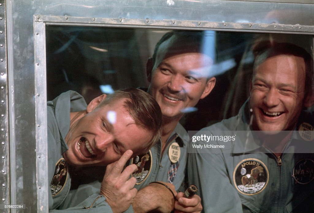 American heroes (left to right) Neil Armstrong, Michael Collins, and Buzz Aldrin, the three astronauts who first landed on the moon, in quarantine aboard the USS Hornet while being checked for any microorganisms they might have picked up on the moon.