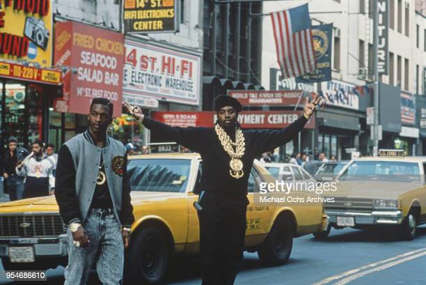 American hip hop duo Eric B and Rakim walking across 14th Street in New York City circa 1989