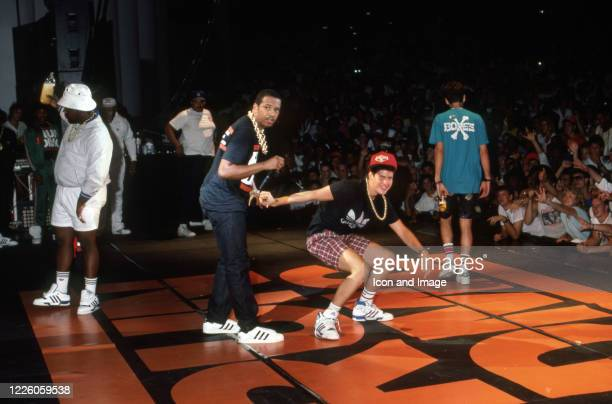 American hip hop group from New York City the Beastie Boys and American hip hop group from Hollis, Queens Run-DMC perform an encore during the...