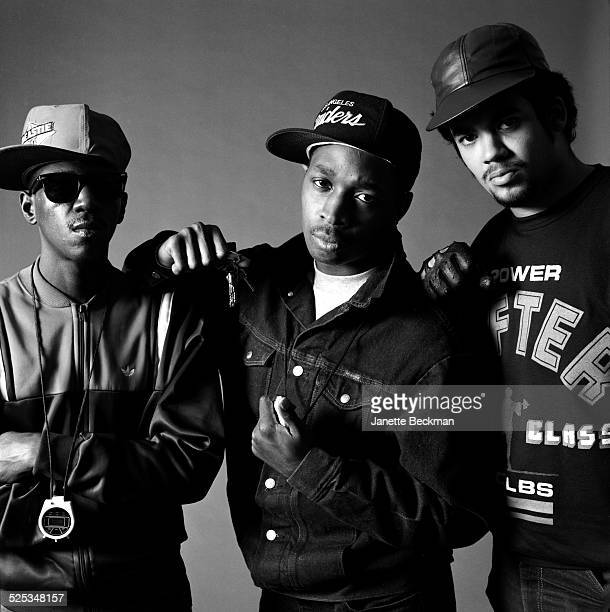 American hip hop group Public Enemy New York 1987 Left to right Flavor Flav Chuck D and Terminator X