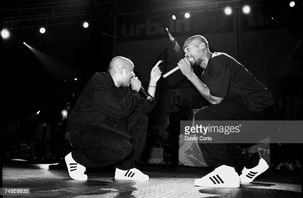 American hip hop group Run DMC performing at Madison Square Garden New York City on 5 October 1995.