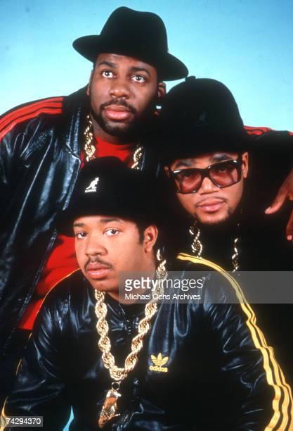 American hip hop group Run DMC portrait session 1987 they are Joseph Run Simmons Darryl DMC McDaniels Jason Jam Master Jay Mizell Photo of Run DMC...