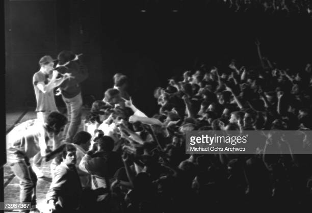 American hip hop group the Beastie Boys perform live at the Hollywood Palladium Hollywood California 7th February 1987