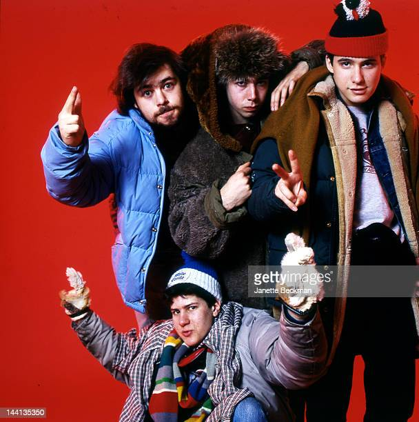 American hip hop group The Beastie Boys photographed in Manhattan with producer Rick Rubin 1985 Back left to right Rick Rubin MCA and AdRock Front...