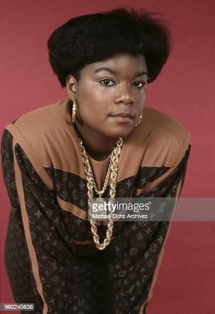 """American hip hop musician and rapper Roxanne Shante, wearing an outfit by Dapper Dan, circa 1989. """"n""""n"""