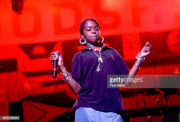 American Hip Hop musician Lauryn Hill of the group Fugees performs onstage at the World Music Theater Tinley Park Illinois August 6 1996