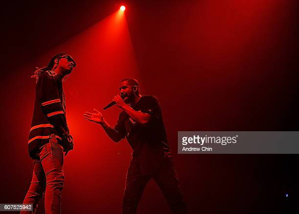 American Hiphop artist Future and Canadian rapper Drake perform onstage during their 'Summer Sixteen Tour' at Pepsi Live at Rogers Arena on September...